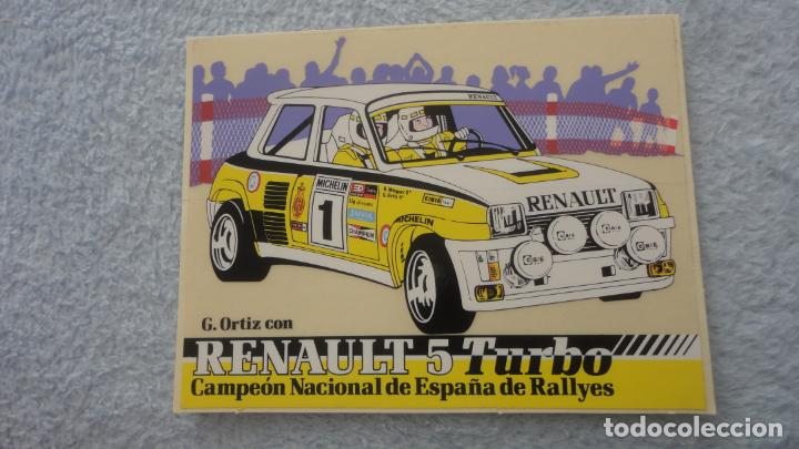 ANTIGUA PEGATINA.RENAULT 5 TURBO.CAMPEON ESPAÑA RALLYES.G.ORTIZ. (Coleccionismos - Pegatinas)