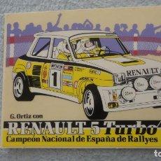 Pegatinas de colección: ANTIGUA PEGATINA.RENAULT 5 TURBO.CAMPEON ESPAÑA RALLYES.G.ORTIZ.. Lote 236974075