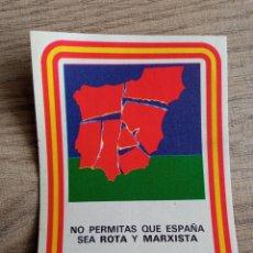 Pegatinas de colección: PEGATINA POLÍTICA TRANSICIÓN CEDADE. FALANGE.FUERZA NUEVA.FRANCO.FRENTE NACIONAL.ABORTO.UCD.CDS.AP.P. Lote 243410910