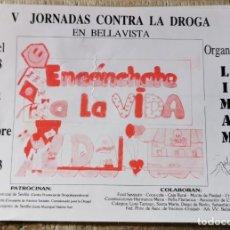 """Pegatinas de colección: ANTIGUA PEGATINA """"V JORNADAS CONTRA LA DROGA EN BELLAVISTA"""". Lote 244418780"""