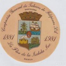 Autocollants de collection: PEGATINA. COMPAÑIA DE TABACOS DE FILIPINAS. SIN USAR. TAMAÑO: 12 CTMS.. Lote 257629830