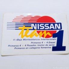 Pegatinas de colección: PEGATINA NISSAN TEAM II BAJA MONTESBLANCOS INTERNACIONAL (BAJA ARAGÓN 1984). Lote 263091755