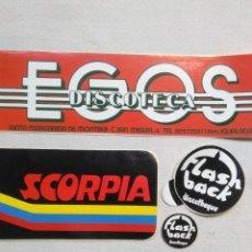 Autocolantes de coleção: PEGATINAS DISCOTECA SCORPIA,EGOS Y FLASH BACK DISCOTHEQUE.MUY BIEN,AÑOS EN ALBUM.ADHESIVOS VINTAGE. Lote 275745568