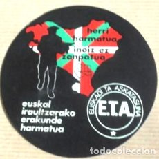 Pegatinas de colección: ANTIGUA PEGATINA POLÍTICA,VASCA,EUSKADI,PAIS VASCO,TRANSICIÓN,ETA,ARTÍCULO DE COLECCIONISMO. Lote 287637223