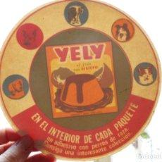 Pegatinas de colección: ANTIGUA PEGATINA REVERSIBLE PROMOCIONAL.FLAN HUEVO YELY. PERROS DE CAZA.. Lote 288088353