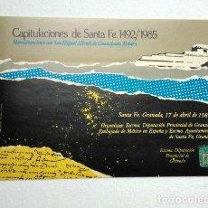 Pegatinas de colección: CAPITULACIONES DE SANTA FE, 1492/1985. HERMANAMIENTO CON SAN MIGUEL ALLENDE, GUANAJUATO, MÉXICO. Lote 289328488