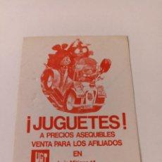 Pegatinas de colección: PEGATINA POLÍTICA. JUGUETES. CC.OO. Lote 292177598