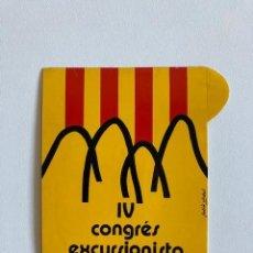 Pegatinas de colección: PEGATINA IV CONGRÉS EXCURSIONISTA CATALÀ 1976-1977. Lote 293178743