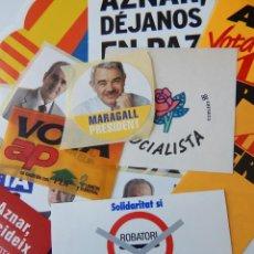 Pegatinas de colección: 14 PEGATINAS POLÍTICAS: INDEPENDENCIA ERC - SENSE POR! CUP - AZNAR, DÉJANOS EN PAZ PSC - MARAGALL... Lote 293425203