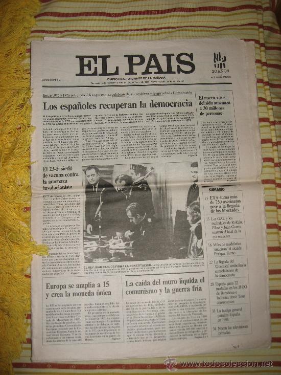 EL PAIS.FASCIMIL.EDICION 20 ANIVERSARIO. (Coleccionismo - Revistas y Periódicos Modernos (a partir de 1.940) - Periódico El Páis)
