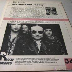Coleccionismo de Periódico El País: EL PAIS.- HISTORIA DEL ROCK.- FASCICULO 34.- ROCK EUROPEO. Lote 42695156