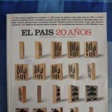 Coleccionismo de Periódico El País: EL PAÍS 20 AÑOS. EXTRA. Nº1023, DOMINGO 5 DE MAYO DE 1996. Lote 43935667