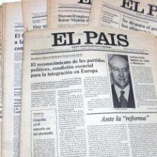 Coleccionismo de Periódico El País: LOTE 24 PRIMEROS NÚMEROS PERIODICO EL PAIS, AÑO I, 1976, DEL Nº 1 AL Nº 24.. Lote 45852013