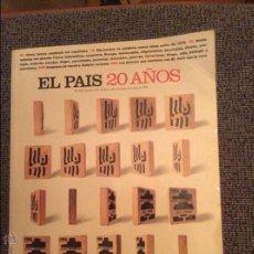 Coleccionismo de Periódico El País: EL PAÍS 20 AÑOS. EXTRA 1996. Lote 46407281