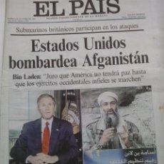 Coleccionismo de Periódico El País: EL PAIS- 8 DE OCTUBRE DE 2001-USA BOMBARDEA AFGANISTAN. Lote 47907649