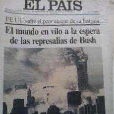 Coleccionismo de Periódico El País: EL PAIS -12 DE SEPTIEMBRE DE 2001-REPRESALIAS EEUU. Lote 47907659