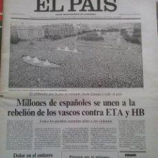 Coleccionismo de Periódico El País: EL PAIS-15 DE JULIO DE 1997-MANIFESTACIONES MULTITUDINARIAS CONTRA ETA. Lote 47907707