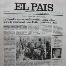 Coleccionismo de Periódico El País: EL PAÍS. SUPLEMENTO DE 20 PÁGS DEDICADO A RESUMIR LO MÁS IMPORTANTE DE 1991. 22.12.1991.. Lote 48972425