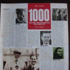 Coleccionismo de Periódico El País: 8 FASCICULOS EL PAIS. LOS MIL PROTAGONISTAS DEL SIGLOXX. Lote 50866305