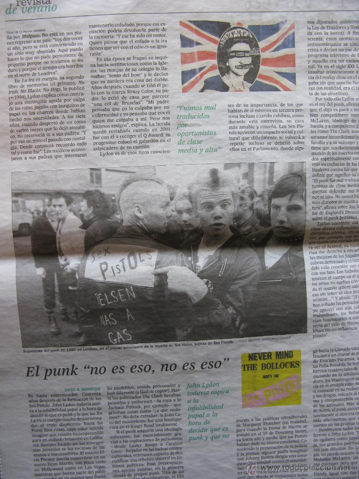 Coleccionismo de Periódico El País: VIEJO APOSTOL PUNK. JOHNNY ROTTEN. SEX PISTOLS. RECORTE DE PRENSA. - Foto 2 - 51616791