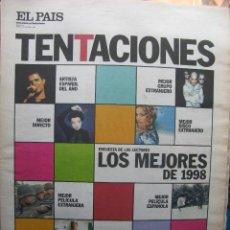 Coleccionismo de Periódico El País: EL PAIS TENTACIONES. Nº 271. 31 DIC 1998 LOS MEJORES DEL AÑO 1998. ALEJANDRO SANZ - R.E.M. - . Lote 56725122