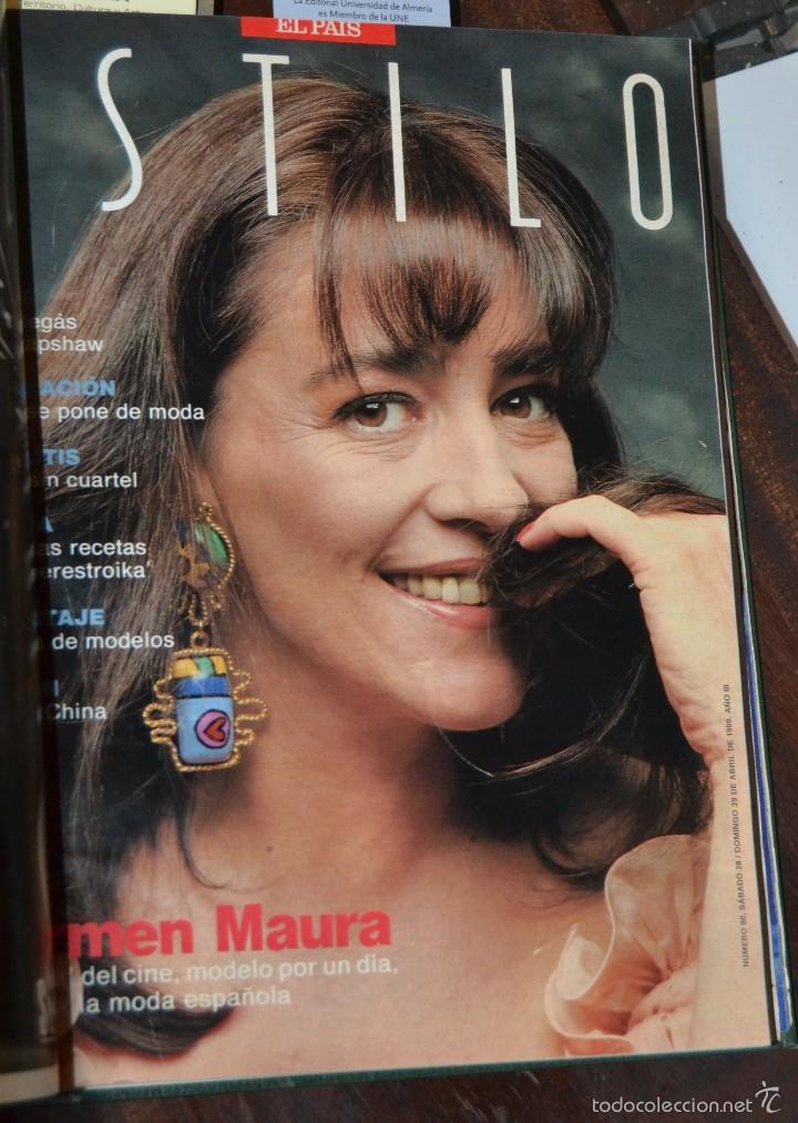 Coleccionismo de Periódico El País: SUPLEMENTO ESTILO DE EL PAIS . NUM 76 A 88 DEL AÑO 1990. ENCUADERNADO MOIRE EDITORIAL CON DORADOS - Foto 7 - 58577475