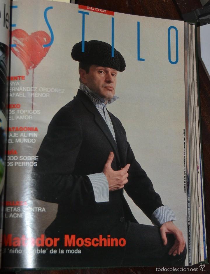 Coleccionismo de Periódico El País: SUPLEMENTO ESTILO DE EL PAIS . NUM 76 A 88 DEL AÑO 1990. ENCUADERNADO MOIRE EDITORIAL CON DORADOS - Foto 8 - 58577475