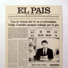 Coleccionismo de Periódico El País: CARTEL PORTADA DIARIO EL PAÍS 13/MARZO/1986 CARTULINA 28X40 CM.. Lote 59587259