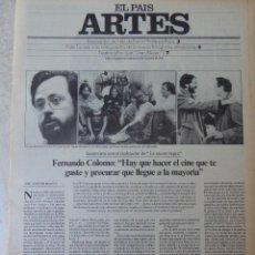 Coleccionismo de Periódico El País: ARTES. SUPLEMENTO EL PAÍS. AÑO II Nº 42. 1980. Lote 60953519