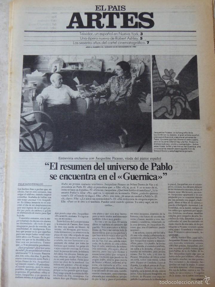 ARTES. SUPLEMENTO EL PAÍS. AÑO II Nº 55. 1980 (Coleccionismo - Revistas y Periódicos Modernos (a partir de 1.940) - Periódico El Páis)