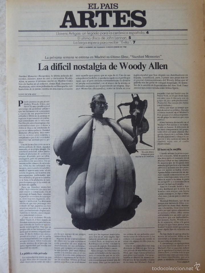 ARTES. SUPLEMENTO EL PAÍS. AÑO II Nº 58. 1980 (Coleccionismo - Revistas y Periódicos Modernos (a partir de 1.940) - Periódico El Páis)