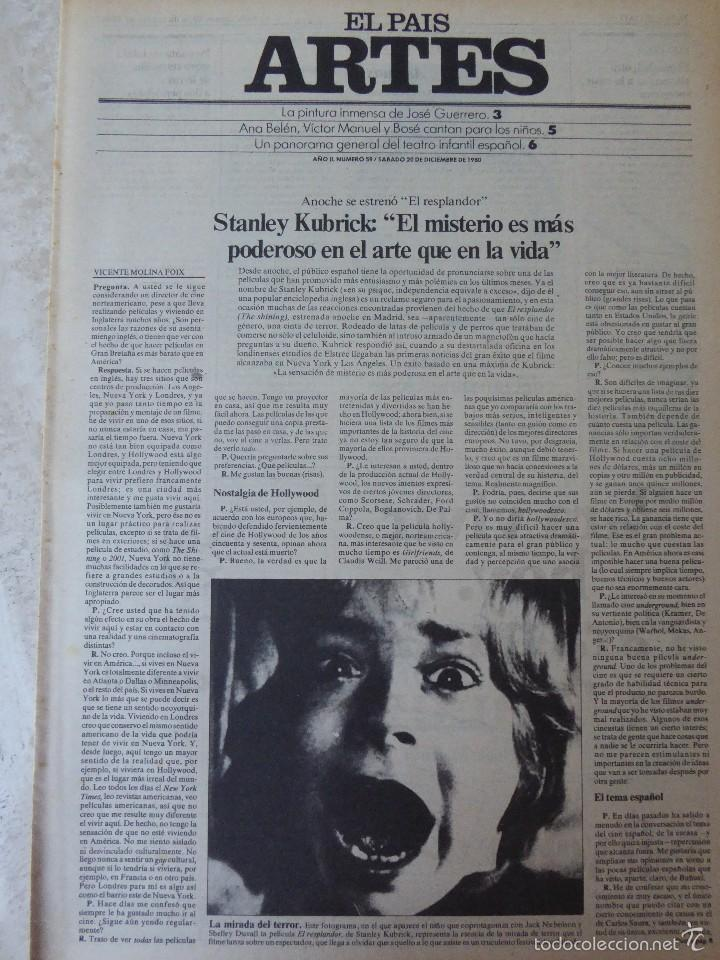 ARTES. SUPLEMENTO EL PAÍS. AÑO II Nº 59. 1980 (Coleccionismo - Revistas y Periódicos Modernos (a partir de 1.940) - Periódico El Páis)
