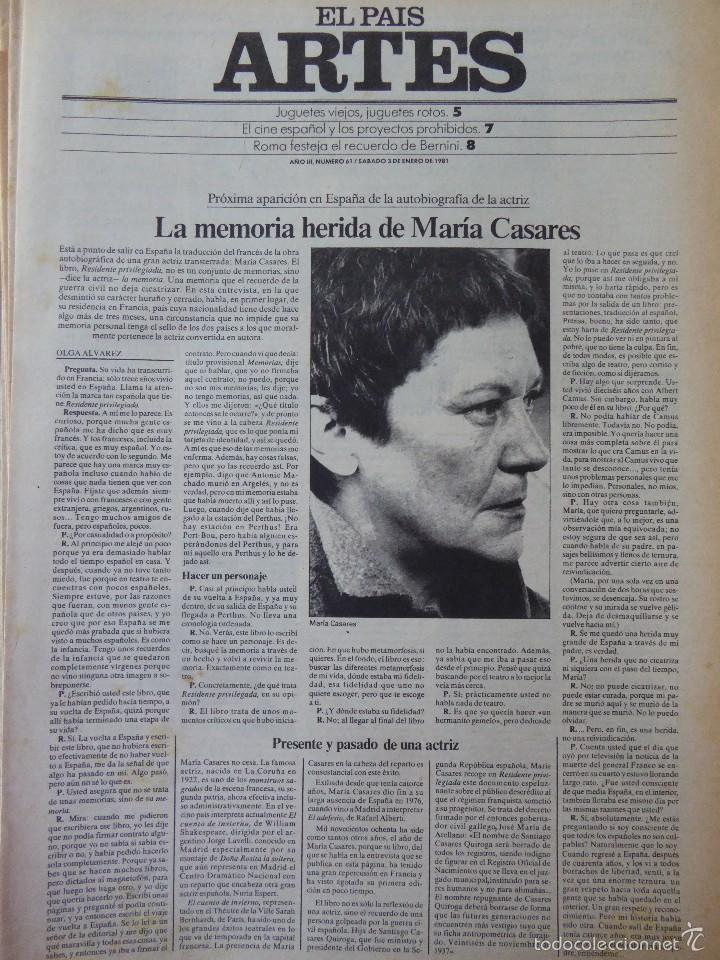 ARTES. SUPLEMENTO EL PAÍS. AÑO III Nº 61. 1981 (Coleccionismo - Revistas y Periódicos Modernos (a partir de 1.940) - Periódico El Páis)