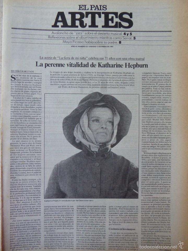 ARTES. SUPLEMENTO EL PAÍS. AÑO III Nº 63. 1981 (Coleccionismo - Revistas y Periódicos Modernos (a partir de 1.940) - Periódico El Páis)