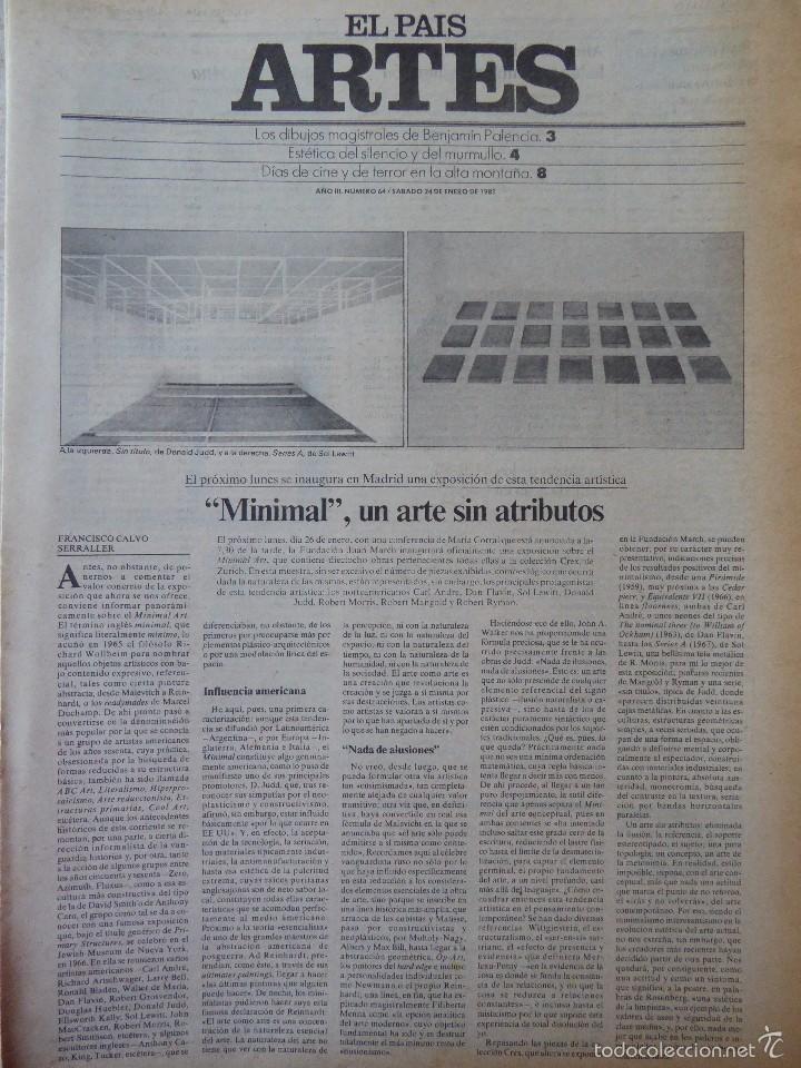 ARTES. SUPLEMENTO EL PAÍS. AÑO III Nº 64. 1981 (Coleccionismo - Revistas y Periódicos Modernos (a partir de 1.940) - Periódico El Páis)