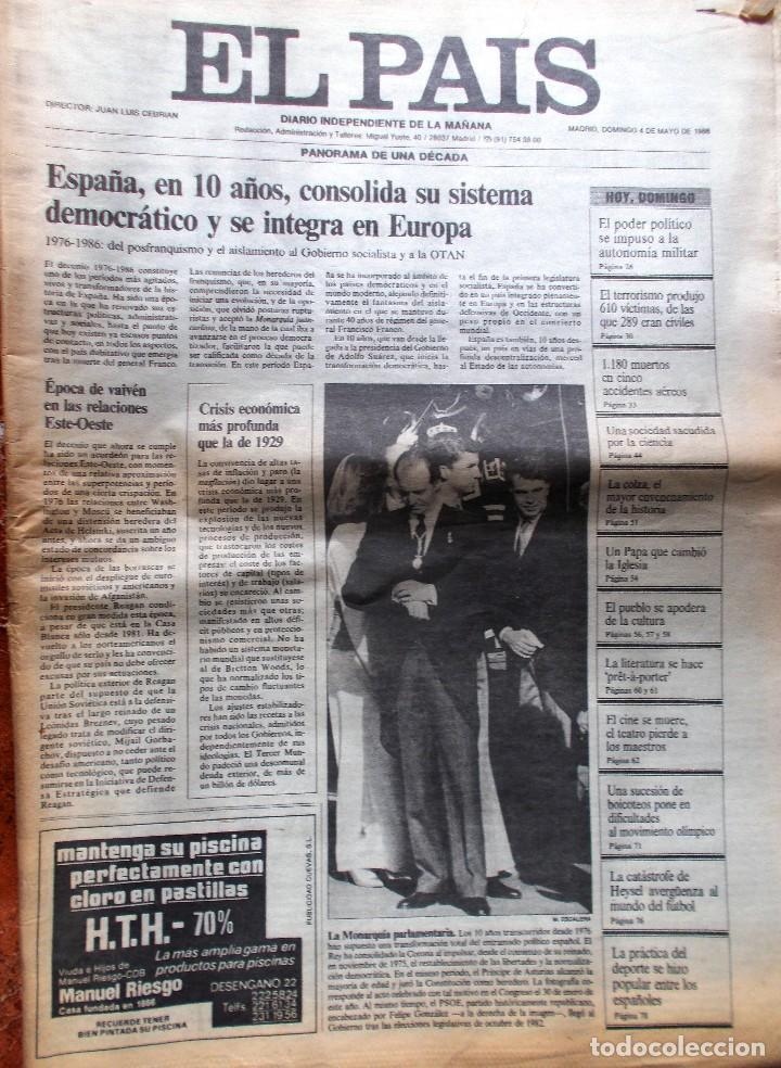 EL PAÍS EDICIÓN DÉCIMO ANIVERSARIO EL PAÍS 1986 (Coleccionismo - Revistas y Periódicos Modernos (a partir de 1.940) - Periódico El Páis)