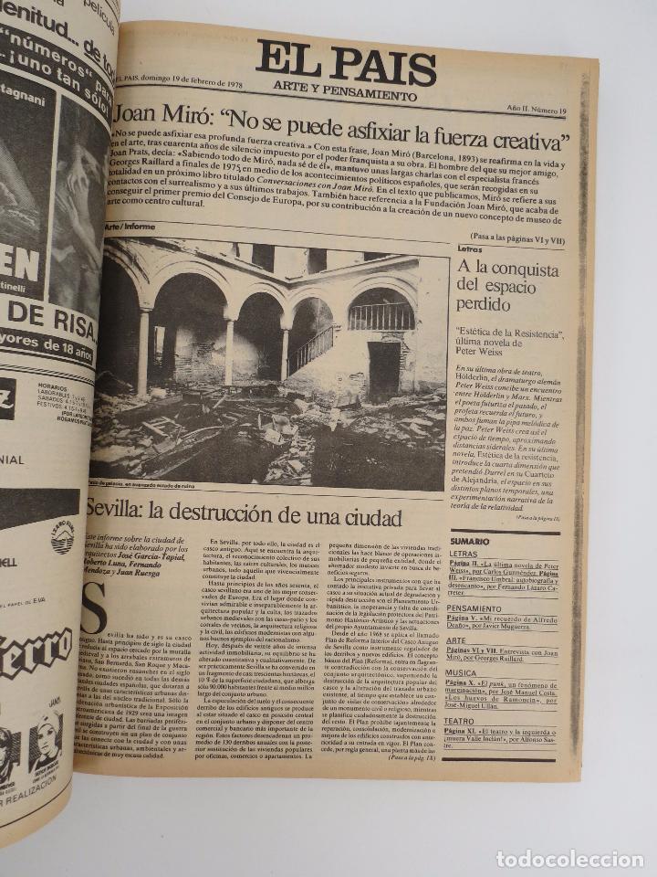Coleccionismo de Periódico El País: EL PAÍS. SUPLEMENTO ARTE Y PENSAMIENTO NºS 1 A 50 EN UN TOMO. 16 OCT 1977 – 24 SEPT 1978 Tapa dura. - Foto 5 - 83323216