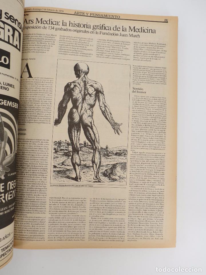 Coleccionismo de Periódico El País: EL PAÍS. SUPLEMENTO ARTE Y PENSAMIENTO NºS 1 A 50 EN UN TOMO. 16 OCT 1977 – 24 SEPT 1978 Tapa dura. - Foto 6 - 83323216