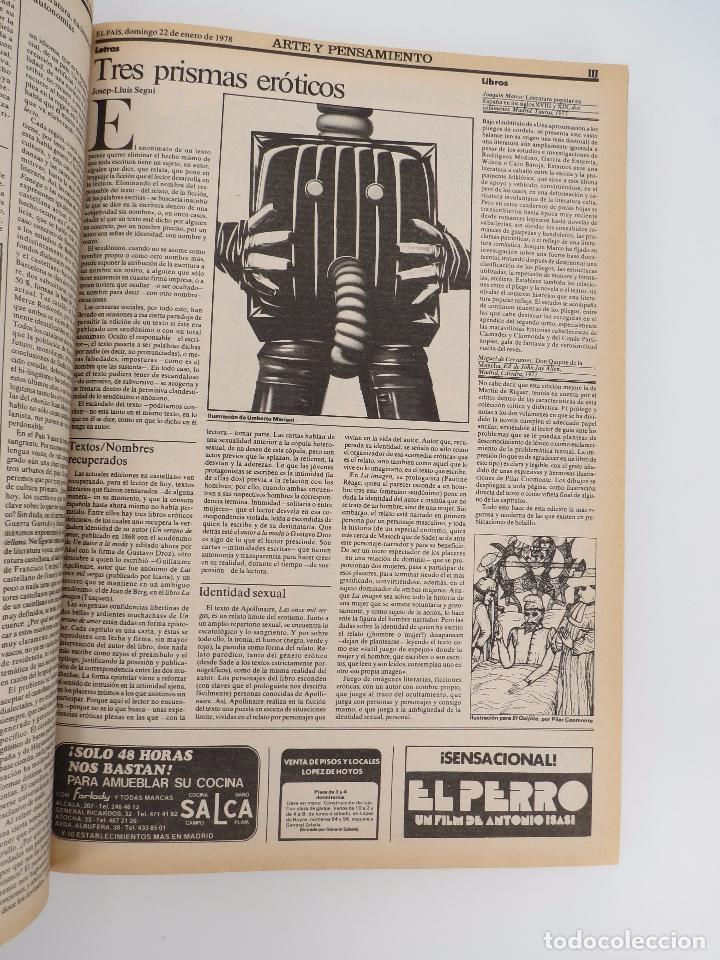 Coleccionismo de Periódico El País: EL PAÍS. SUPLEMENTO ARTE Y PENSAMIENTO NºS 1 A 50 EN UN TOMO. 16 OCT 1977 – 24 SEPT 1978 Tapa dura. - Foto 7 - 83323216