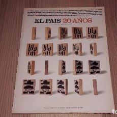 Coleccionismo de Periódico El País: EL PAÍS 20 AÑOS (EL PAÍS SEMANAL) 1023. NÚMERO EXTRA. 490 PÁGINAS. 1996. Lote 83492728