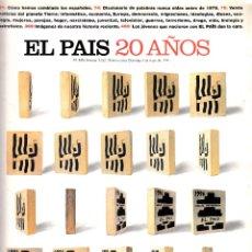 Coleccionismo de Periódico El País: EL PAÍS SEMANAL Nº1023 - NÚMERO EXTRA ESPECIAL 20 AÑOS. 5 DE MAYO DE 1996.. Lote 84118168