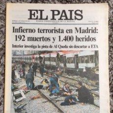 Coleccionismo de Periódico El País: EL PAÍS 12 MARZO 2004. Lote 85294008