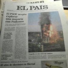 Coleccionismo de Periódico El País: PERIÓDICO EL PAÍS 15.06.2017. ,SUPLEMENTO 40 AÑOS DE ELECCIONES. Lote 103860303