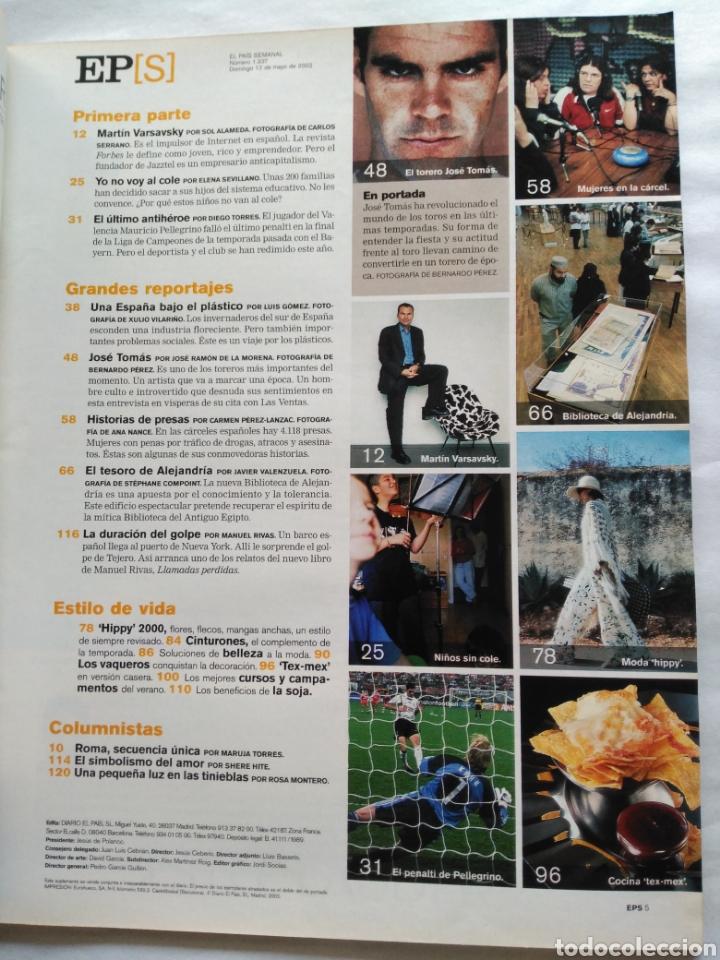 Coleccionismo de Periódico El País: El País Semanal 2002. Torero José Tomás, la revolución del toreo. Biblioteca de Alejandría. - Foto 3 - 118519567