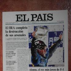 Coleccionismo de Periódico El País: LAS PORTADAS DEL PAÍS 2005 FERNANDO ALONSO. Lote 121496959