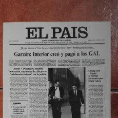 Coleccionismo de Periódico El País: LAS PORTADAS DEL PAÍS 1995 GARZON INTERIOR CREO Y PAGO LOS GAL. Lote 121497095