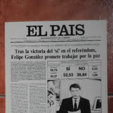Coleccionismo de Periódico El País: LAS PORTADAS DEL PAÍS 1986 REFERÉNDUM DE LA OTAN. Lote 121497235