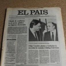 Coleccionismo de Periódico El País: DIARIO EL PAÍS. Nº 3332. 21 MAYO 1986.FELIPE GONZÁLEZ Y GORBACHOV.. Lote 122764435