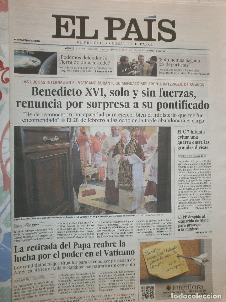 RENUNCIA DEL PAPA BENEDICTO XVI 12 DE FEBRERO 2013 (Coleccionismo - Revistas y Periódicos Modernos (a partir de 1.940) - Periódico El Páis)
