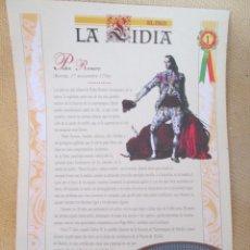 Coleccionismo de Periódico El País: LA LIDIA EL PAIS - 32 LAMINAS DE 39 X 27 CM - EDICION TAURINA COLECCIONABLE DE EL PAIS LAMINA 1. Lote 130266314